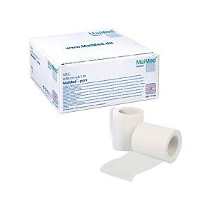 Maimed Pore:  witte, non-woven, hypoallergene kleefpleister 2,5 cm x 9,14 m